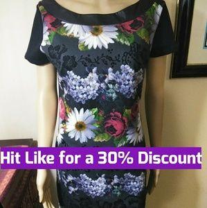 Desigual black flower Dress,  large